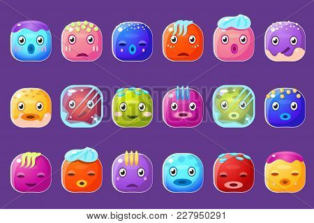 Colorful Buttons Emoticons Sett With With Frozen Edges And Drops Of Sweat Vector Illustrations, Funn