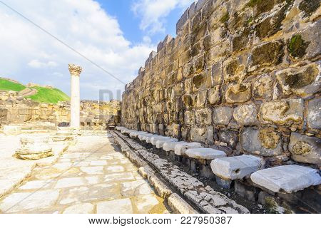 View Of The View Of The Roman Public Toilet In The Ancient City Of Bet Shean, Northern Israel, North