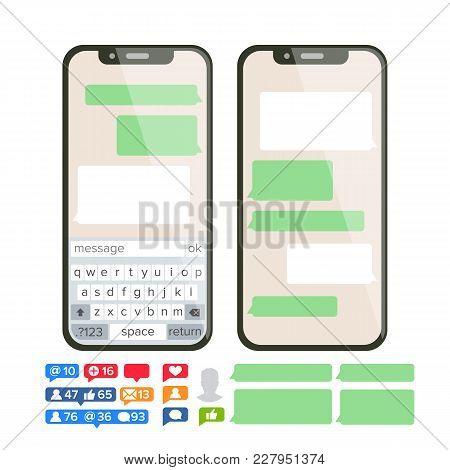 Mobile Screen Messaging Vector. Chat Bot Bubbles Set. Mobile App Messenger Interface. Communication