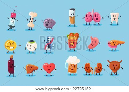 Bad Habits And Unhealthy Human Organs Characters Sett, Funny Educational Vector Illustrations Isolat