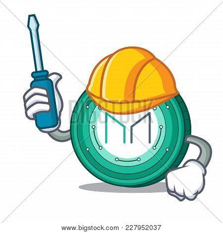 Automotive Maker Coin Mascot Cartoon Vector Illustration