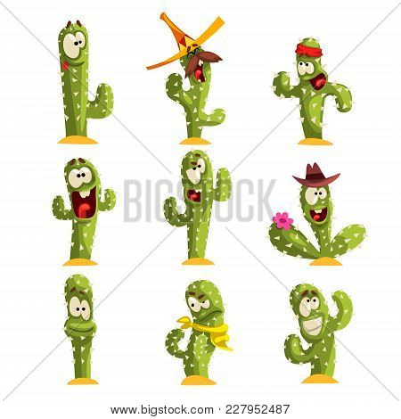 Cactus Characters Sett, Funny Cacti With Different Emotions Vector Illustrations Isolated On A White