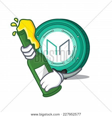 With Beer Maker Coin Mascot Cartoon Vector Illustration