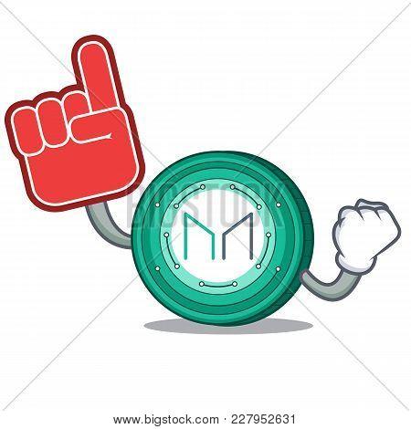 Foam Finger Maker Coin Mascot Cartoon Vector Illustration