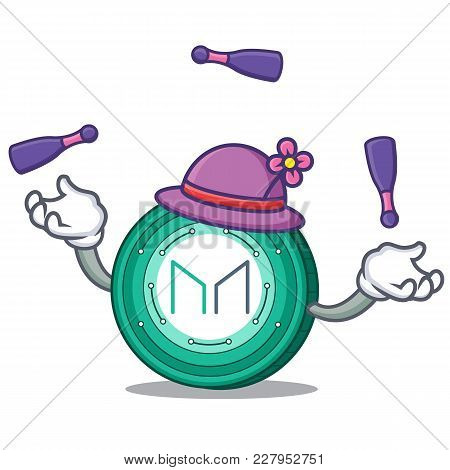Juggling Maker Coin Mascot Cartoon Vector Illustration