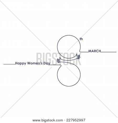 Creative 8 March Logo Vector Design With International Women's Day Icon.women's Day Symbol.minimalis