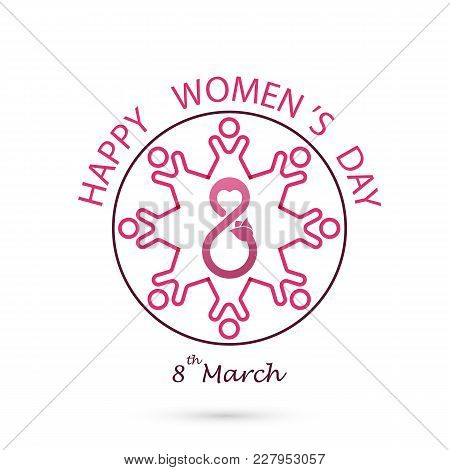 Creative 8 March Logo Vector Design With International Women's Day Icon.women's Day Symbol. Minimali