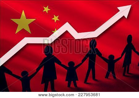 China Flag On A Background Of A Growing Arrow Up And People With Children Holding Hands. Demographic