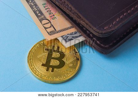 Wallet With Coin Bitcoin And Dollar Banknotes. Empty Space For Text
