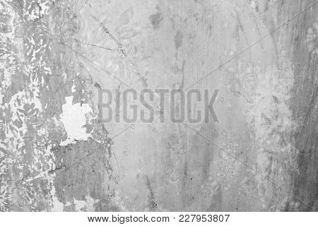 Old Concrete Wall With Scuffs Of Gray Color, Texture Background