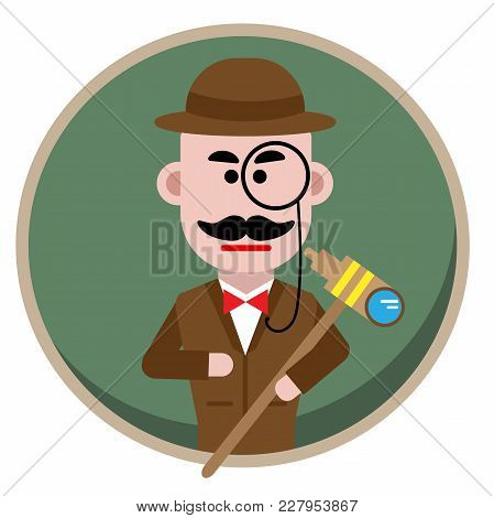 Man In Hat Suit Raincoat And Glasses. The Detective Undercover.detective Single Icon In Cartoon Styl
