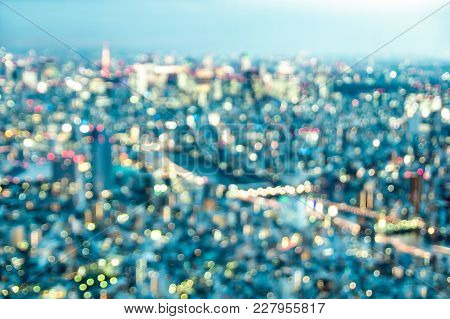 Aerial Bokeh Of Tokyo Skyline From Above After Sunset On Blue Hour - Japanese World Famous Capital W