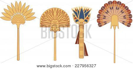 Egypt Ornamental Fan Set Of Illustrations, Ancient Egypt Fan Set, Ancient Egypt Art