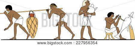 Ancient Egyptian Potter Process Vector Illustration, Craftsman At Work, Ancient Egypt People, People
