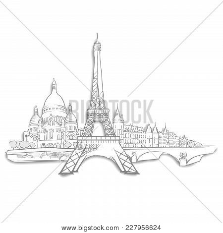 Paris Landmarks Sketches. Line Art Drawing By Hand. Travel Design, Architecture Icon For Greeting Ca