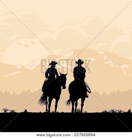 Silhouette Of Cowboy Couple Riding Horses At Sunset, Vector
