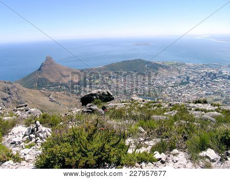 View From The Top Of Table Mountain, Looking Down On To Lions Head Mountain And Signal Hill