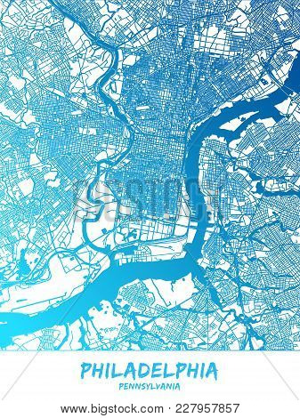 Philadelphia Downtown And Surroundings Map In Blue Shaded Version With Many Details. This Map Of Phi