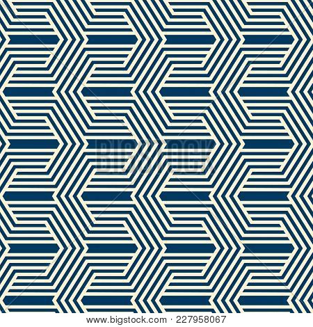 Vintage Minimalistic Geometric Seamless Pattern With Linear Texture Of Repeating Structure In Monoch