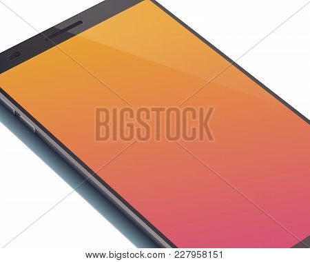 Modern Digital Smartphone Concept With Beautiful Orange Touchscreen Display With Shadow On The White