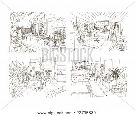 Collection Of Contour Sketch Drawings Of Cozy Apartment Furnished In Scandinavian Hygge Style. Set O