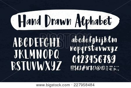 Stylish Hand Drawn English Alphabet. Collection Of Upper And Lower Case Letters Arranged In Alphabet