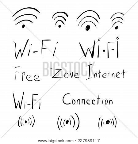 Hand Drawn Scribble Wifi Icons. Sketch Illustration Of The Internet Theme
