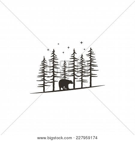 Vintage Hand Drawn Forest Concept With Bear. Black Monochrome Design For Prints, T Shirts, Travel Mu