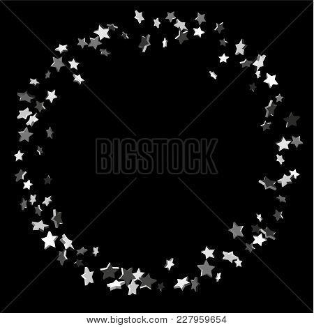 Silver Volumetric Star-confetti Fall On A Black Background.  Illustration Of Flying Shiny Stars. Dec