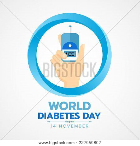 World Diabetes Day Banner With Hand Hold Blood Sugar Test In Blue Circle Sign Vector Design
