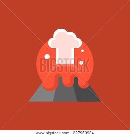 Volcano Eruption With Red Lava And Mushroom Cloud, Disaster Flat Icon