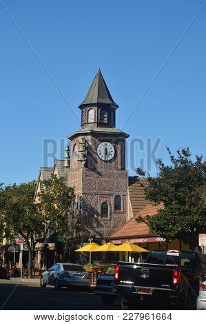 Typical Danish Clock In Solvang: A Picturesque Village Founded By Danes With Their Typical Contructi