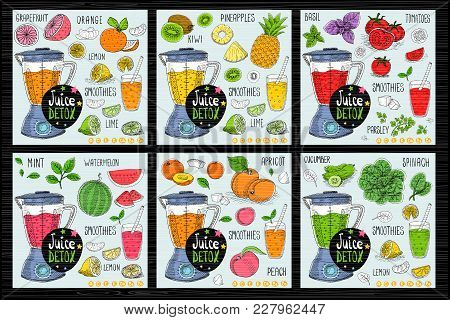 Healthy Juice Detox Smoothie Receipes Set. With Illustration Of Ingredients, Glass, Stars, Hearts An