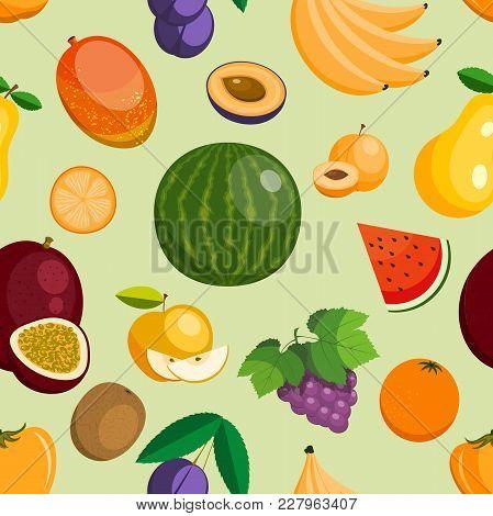Vector Fruits Exotic Apple, Banana And Papaya Flat Style Illustration. Fresh Fruity Slices Tropical