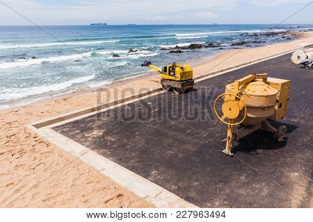 Construction Asphalt Beach Car Park Ocean