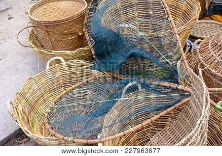 Various Of Rattan Or Bamboo Handicraft Hand Made For Sale In Market At Kudat,sabah,borneo,malaysia.k