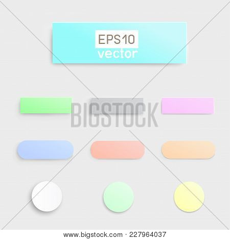 Material Flat Multicolor Button Template Infographic Design. Different Simple Soft Buttons With Shad