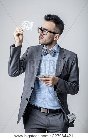 Best Motivation Is Money. Happy Businessman Working In The Office For The Money. (perspective, Enric
