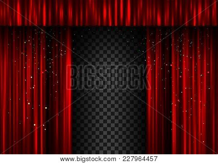 Red Open Double Curtains Scene Template. Easy To Edit Curtain Width And Shadow