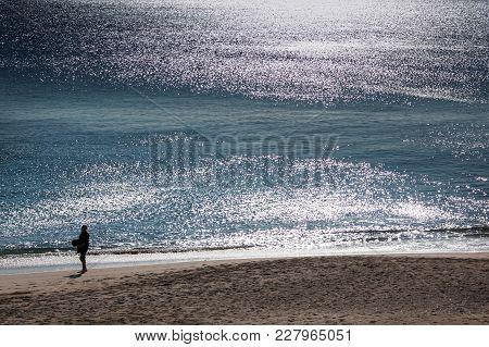 Lisbon, Portugal - February 01, 2011: Sesimbra Beach In Setubal District, Lisbon Coast, Portugal