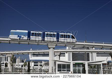Ashgabat, Turkmenistan - April 28, 2017. Part Of The Sport Complex With  Monorail.  Was Built For As