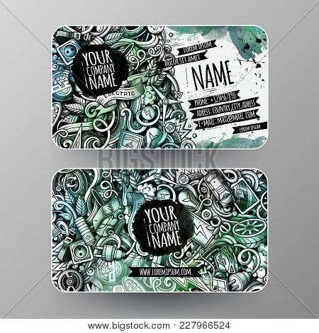 Cartoon Graphics Watercolor Vector Hand Drawn Doodles Electric Cars Corporate Identity. 2 Id Cards D