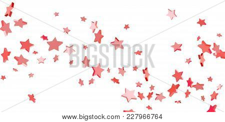 Red Star Confetti. Falling Stars On A White Background. Illustration Of Flying Shiny Stars. Decorati