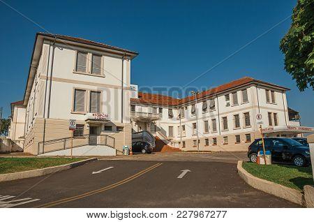 Sao Manuel, Southeast Brazil - October 14, 2017. Town Hospital Building Facade And Main Entrance Of