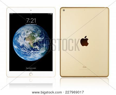 Kyiv, Ukraine - Fabruary 6, 2018: Brand New White Apple Ipad Gold Isolated On White With Clipping Pa