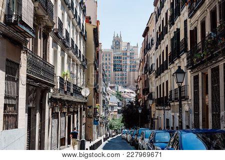 Madrid, Spain - July 9, 2017: Street Scene In Malasana District In Madrid. Malasana Is One Of The Tr