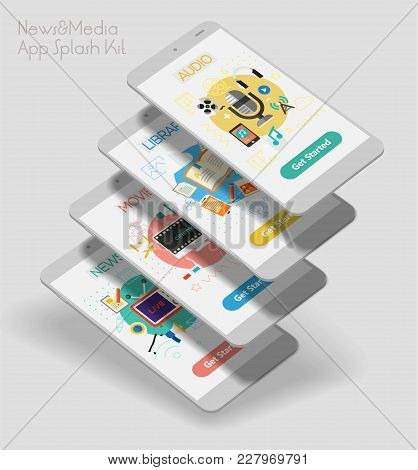 Flat Design Responsive Multimedia Sources Ui Mobile App Splash Screens Template With Trendy Illustra