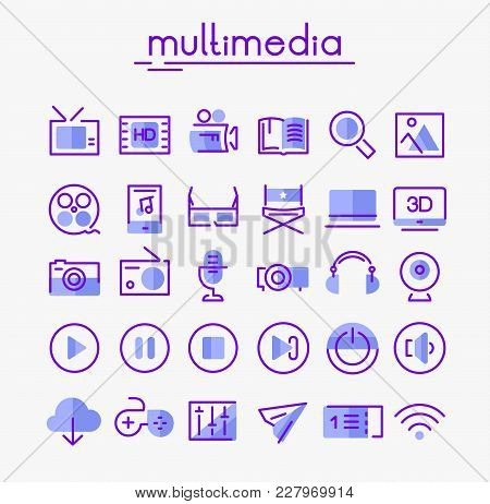 Vector Set Of Trendy Inline Bold Multimedia Icons, Set 2