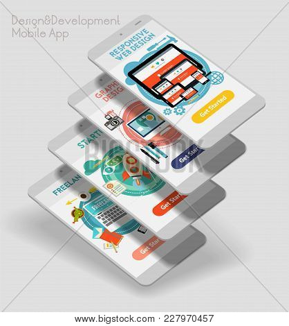 Flat Design Responsive Design And Development Ui Mobile App Splash Screens Template With Trendy Illu