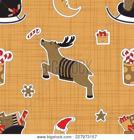 Christmas Deer. Seamless Pattern Background With Gifts Vector Illustration.